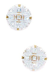 14k Yellow Gold 9mm 9 Segment Round CZ Light Prong Set Earrings - JewelryWeb