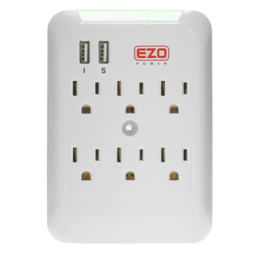 EZOPower 6 AC Outlet Wall Mount Plate Surge Charge Protector with 2 USB Charger Ports 2.4A Picture