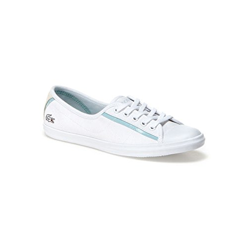 Lacoste Women's Ziane 116 1 Lace Up Shoe,White Textile,US 8 M