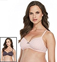 2 Pack Cotton Rich Non-Wired Padded T-Shirt A-D Bras
