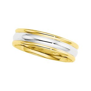 14k Two-Tone Comfort Fit Band Ring - Size 11 - JewelryWeb