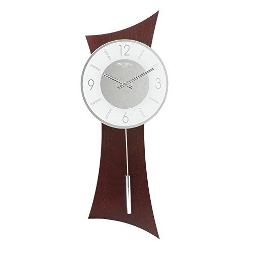 stylish-curved-dark-wood-quartz-pendulum-wall-clock-with-chrome-and-white-dial