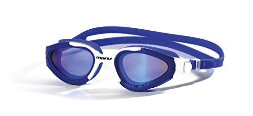 Maru Groove Schwimmbrille Polarisierte Spiegel Anti-Beschlag Gläser - Blau Weiß/Blau