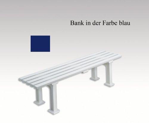 Gartenbank, Parkbank, Bank aus Kunststoff, ohne Lehne, blau, 150 cm