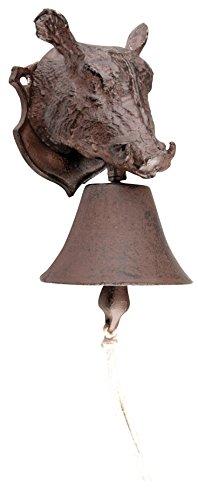 Esschert design, Campanello porta con cinghiale decorativo, in ghisa 11 x 19 x 13 cm, DB70