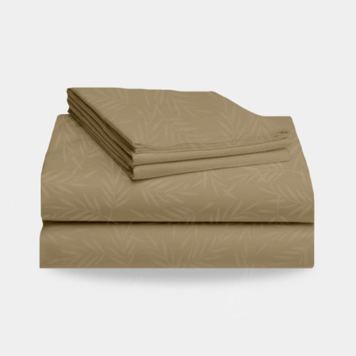 1800 Split California King Bed Sheet Set Leaf Pattern (Tan) front-572328