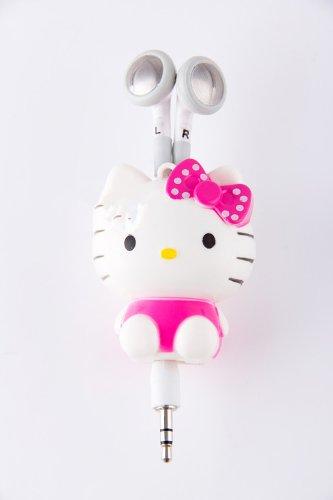 New 3.5Mm Cartoon Hello Kitty Earphone Headset Earbud /Retractable
