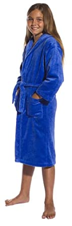 Cotton Terry Hooded Girls cover up bathrobes Royal Blue Small