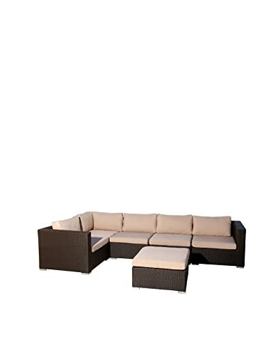 Abbyson Living Laguna Outdoor Wicker 6-Piece Sectional, Espresso Brown As You See