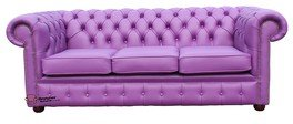 Chesterfield 3 Seater Settee Wineberry Purple Leather Sofa