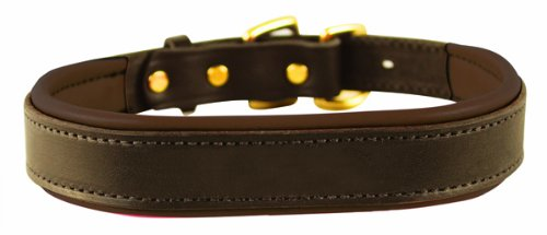 Perri's Padded Leather Dog Collar, Havana/Brown, L