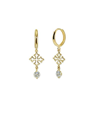 14k Yellow Gold, Cross Design Dangling Drop Earring with Brilliant Created Gems