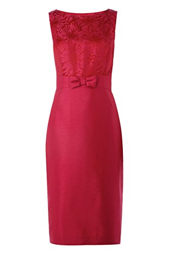 Roman Originals - Womens Sleeveless Jacquard Bow Detail Dress - Evening Cocktail Party Occasion Formal - Fuchsia Pink - Sizes 10 - 20