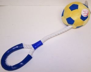 Classic Pet Products Plush and Rope Soccerball Tug 16in Dog Toy