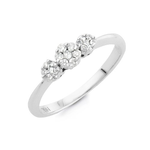 1/4 Carat Diamond Cluster Bridal Ring in 10K White Gold Size-7
