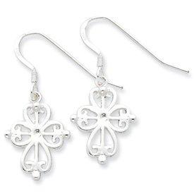 Sterling Silver Cross Dangle Earrings with Shepherd Hook