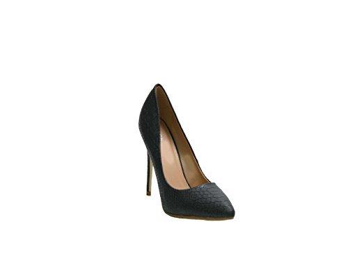 JustGlam-Scarpe donna decolletè pitonate con puntale a punta e tacco slim / Nero 40