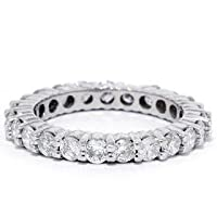 1.50CT Round Brilliant Cut 14k White Gold Diamond Eternity Wedding Anniersary Stackable Guard Ring Womens Band Color (H) Clarity (SI2/SI3) Size 7