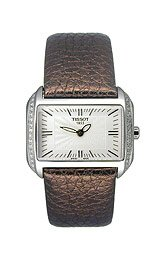 Tissot Women's T023.309.16.031.01 T-Wave Silver Dial Brown Leather Strap Watch