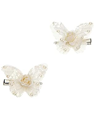 Monsoon Filles 2barrettes en forme de papillons à fleurs en dentelle Taille Taille unique Ivoire
