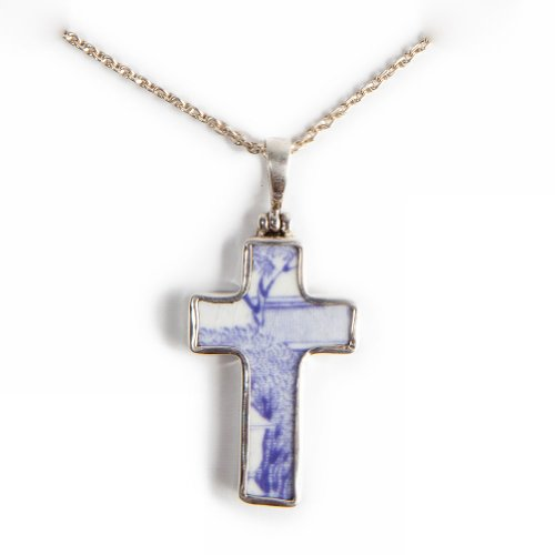 Pavo Jewelry Vintage Porcelain and 925 Sterling Silver Pendant, Lavender Floral Pattern (Cross Shaped)