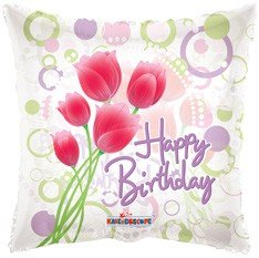 "18"" Foil Balloon, Happy Birthday - Tulips Clear View (1 Ct)"