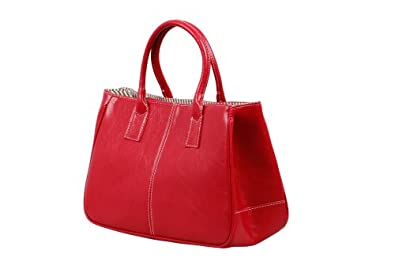 Bundle Monster Womens PU Faux Leather Lady Tote Shoulder Handbag Purse Bag - RED