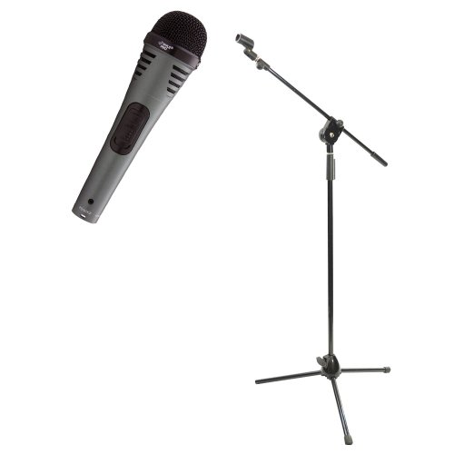 Pyle Mic And Stand Package - Pdmik2 Professional Moving Coil Dynamic Handheld Microphone - Pmks3 Tripod Microphone Stand W/ Extending Boom