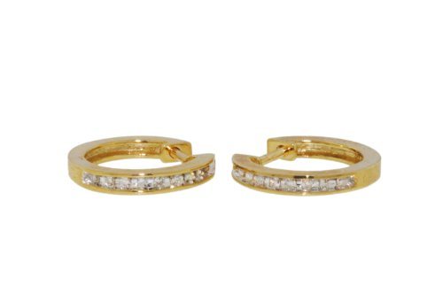 9ct Yellow Gold 0.10ct Diamond Twist Hoop Earrings