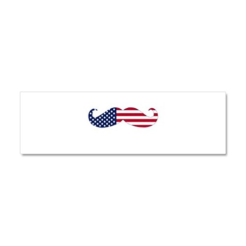 CafePress Car Magnet 10 x 3 - Mustache of america Car Magnet 10 x 3 - White