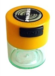 Tightvac Minivac Vitavac-Pocket Vacuum Sealed Pill Box and Vitamin Container, 1 Ounce / 0.12 Liter, Yellow Cap / Clear Body with free BB sticker (Vacuum Stash Jar compare prices)