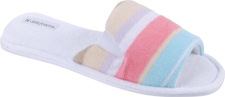 Dearfoams Women's DF730 Slippers,White Stripe ,M M US