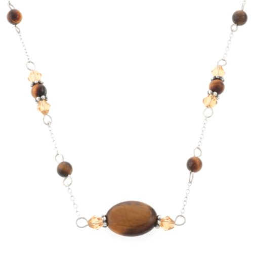 Sterling Silver Oval Stone Tigers Eye Beaded Necklace, 17