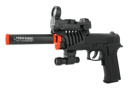 Electric Full Auto Tactical .45 Style Pistol Fps-150 Silencer, Red Dot Sight, Flashlight, Blowback Airsoft Gun