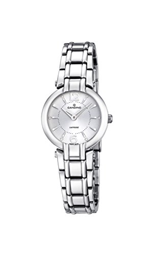 Candino Women's Quartz Watch with White Dial Analogue Display and Silver Stainless Steel Bracelet C4574/1