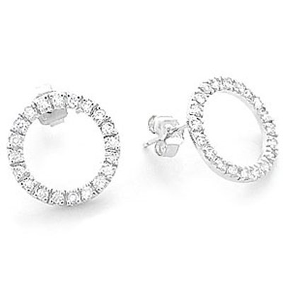 Sterling Silver Eternity Hoop Earrings, Delightfully Set With High-Grade Diamond-Colored Round-Cut Cubic Zirconia, Top Quality Finish, Comes with a Free Special Gift Pouch, Special Discounted Price