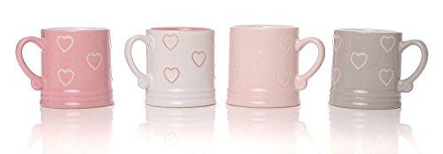 """4-Boccale da birra con scritta """"Love"""" in stile Vintage, a forma di cuore, per tè, caffè Espresso coppe Set di tazze con scatola regalo"""