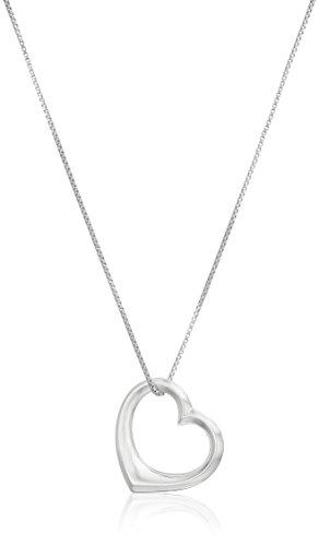 "Sterling Silver Open Medium Heart Pendant Necklace, 18"""
