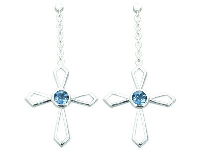 1.25 Ct.T.W. Genuine Round London Blue Topaz in Sterling Silver Rhodium Finish Cross Earrings