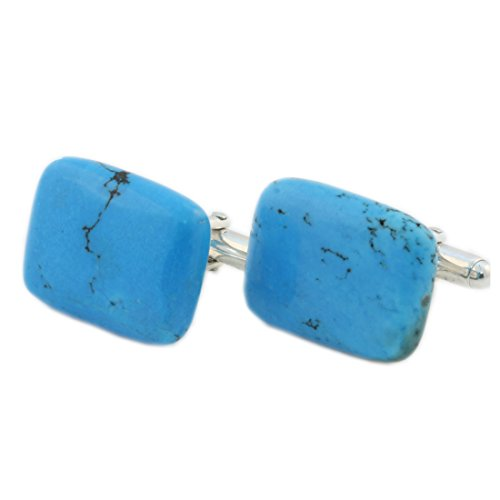 Turquoise Cufflink In Sterling Silver - Natural Turquoise Great Gift For Men