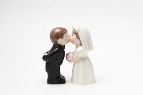 """Bride Groom Kissing"" Magnetic Salt & Pepper Set"