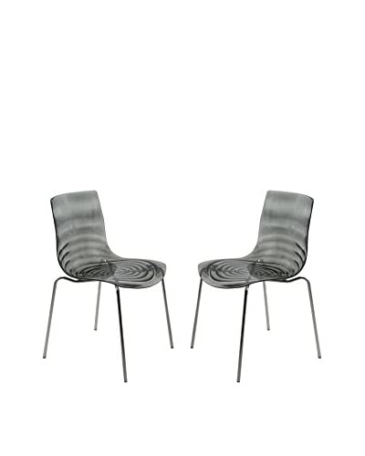 LeisureMod Astor Set of 2 Modern Dining Chairs, Transparent Black