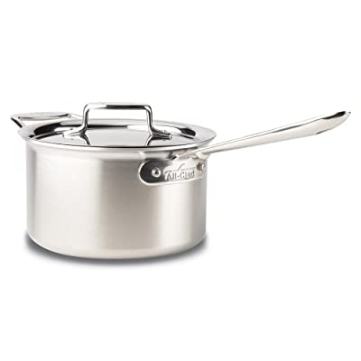 All-Clad BD55201.5 Brushed d5 Stainless Steel 5-Ply Bonded Dishwasher Safe Sauce Pan / Cookware, 1.5-Quart, Silver