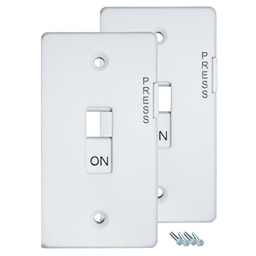 E-Lock Switch Guard Light Switch Cover, Twin Pack, White - 1