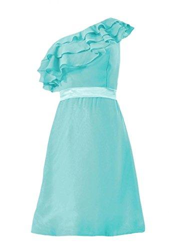 Daisyformals Cocktail One Shoulder Chiffon Bridesmaid Dress(Bm244)- Tiffany Blue