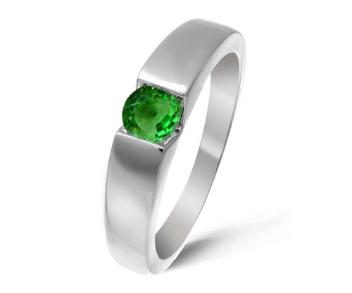 Modern 9 ct White Gold Ladies Solitaire Engagement Ring with Tsavorite 0.40 Carat