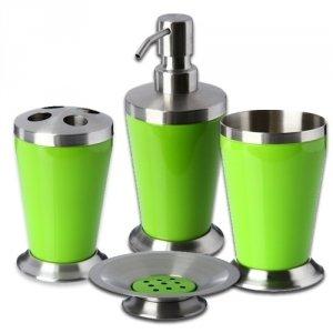 Set de 4 accessoires pour salle de bain new colours inox for Colonne salle de bain vert pomme