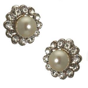 Estralita Silver Pearl Clip On Earrings