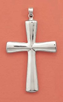 Sterling Silver Pendant, 2 inch tall, 1-1/2 inch wide, Plain Puffed Cross