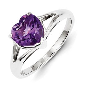 Genuine IceCarats Designer Jewelry Gift Sterling Silver Rhodium Amethyst Ring Size 7.00